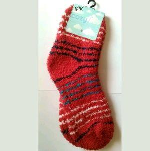 Cozy Feet Fuzzy Plush Socks Red w/ Cream Navy Teal